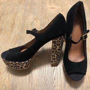 Lucky Brand Cheetah Platform Heels